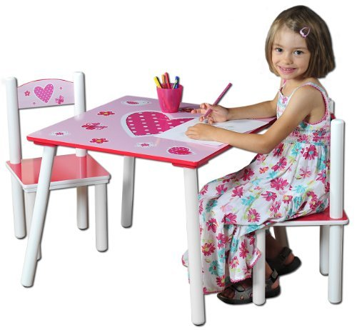 Kesper 17722 1 Child's Table with 2 Chairs, Heart Motif, Coated with Coloured Medium Density Fibreboard, FSC by Kesper