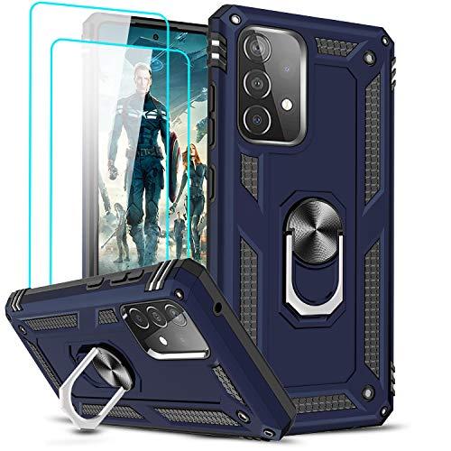 LeYi Hülle Kompatibel mit Samsung Galaxy A52 5G/A52 4G Handyhülle und Panzerglas Schutzfolie(2 Stück),360 Grad Ring Halter Ständer Handy Hüllen Militär Standard Cover Bumper Schutzhülle Case Case Blau
