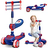 Achiyway Kick Scooters for Kids Ages 2-6, Foldable Seat, Adjustable Height Scooters, 3 Wheels Extra-Wide Deck LED PU Wheels Rear Brake Scooters for Boys Girls Toddlers