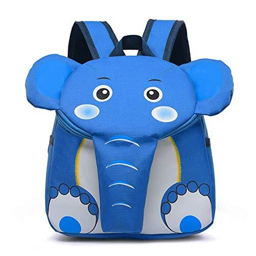 Appiu Cartoon children's school bag kindergarten 2-5 years old backpack men and women cute elephant backpack parent-child backpack (Color : Blue)