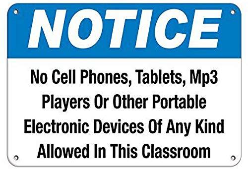 Inga Letrero de metal con aspecto vintage para teléfonos celulares/tabletas/reproductores de MP3 con texto en inglés 'Allowed In Classroom'