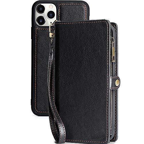 Funda iPhone 11 Pro MAX con Monedero y Tarjetero con Cremallera Funda de Cuero para PU Funda para Tarjeta con Monedero Funda Magnética Desmontable