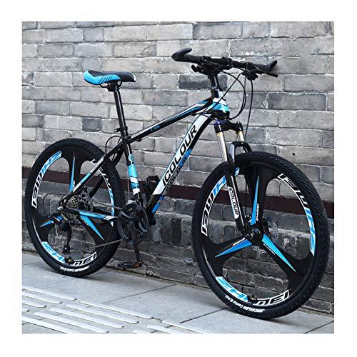 Bicicleta De Montaña De Aluminio Ligero De 24 Pulgadas Y 27 Velocidades, para Adultos, Mujeres, Adolescentes,Black Blue