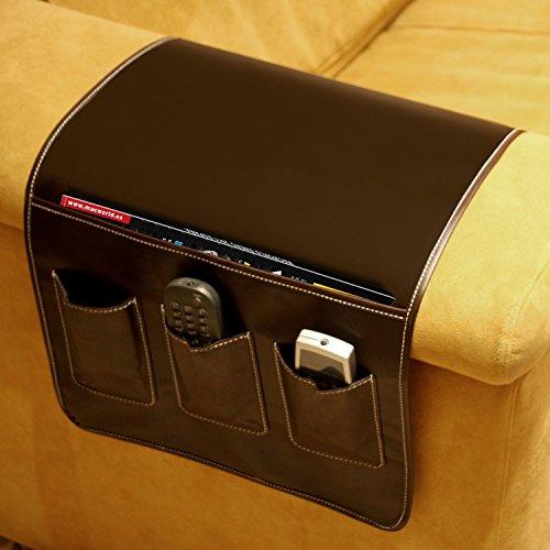 DONREGALOWEB Portamandos Organizador mandos Polipiel marrón para 3 mandos y revistas o Tablets para Lateral sofá 37x64cm