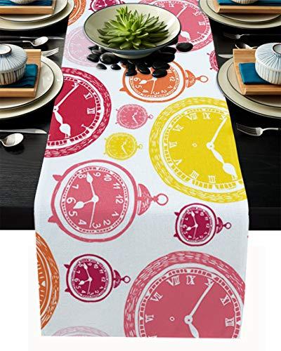 FAMILYDECOR Camino de mesa de arpillera de lino para mesas de comedor de 35,5 x 182,8 cm, diseño de cara de reloj para fiestas de vacaciones, cocina, decoración de boda