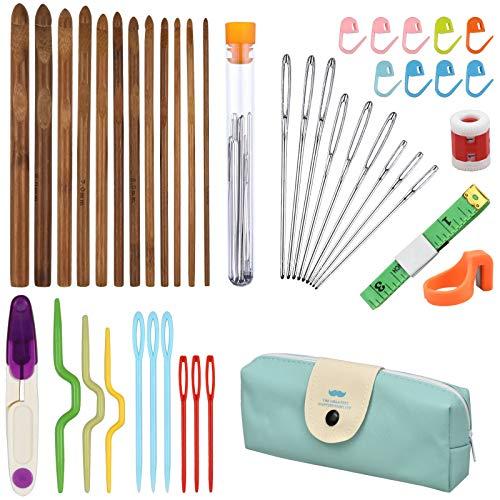 NATUCE 44 Stück Bambus Häkelhaken Set, Ergonomische Häkelnadel Set, Stricknadeln Zubehöre, Häkeln Stricknadeln mit Tragbaren Tasche für Anfänger und Profis, 3mm - 10mm