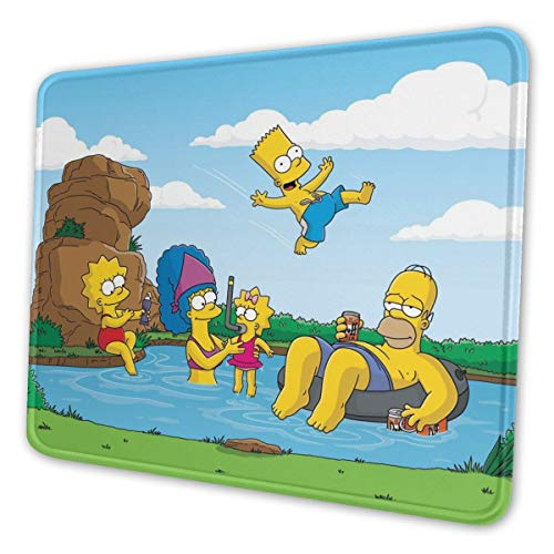 Cartoon The Simpsons Mouse Pad Non Slip Rubber Stitched Edges Large Gaming Keyboard Mat Mousepad 10 x 12 x 0.12 Inch