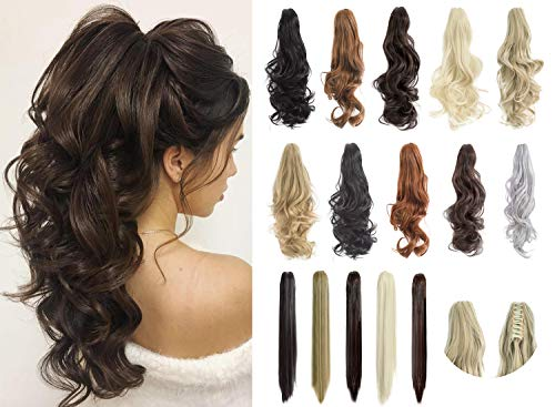 Felendy Ponytail Extension Claw 18' 20' Curly Wavy Straight Clip in Hairpiece One Piece A Jaw Long Pony Tails for Women Dark Black