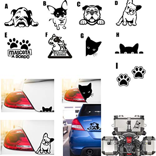 MACOES Pegatinas de mascota a bordo -animal perro gato, vinilo Decorativo- Etiquetas Adhesivas para coche Moto Bicicleta Patinetes casco vidrio tabla de snowboard todoterreno