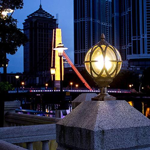 QTRT Columna cabeza de la bola de la lámpara a prueba de agua al aire libre Jardín muro de cabecera de la lámpara Villa Puerta de la lámpara ahorro de energía europea Decoración Iluminación Porche Pat