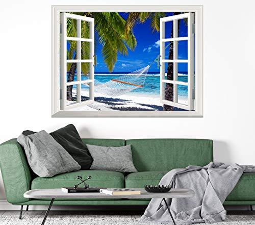 Tropical Beach Window Poster 3D Wall Sticker Vinyl Decal Wall Mural Art Paradise