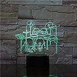 3D Rock Music Band Drum Set LED Acrylic Night Light con 7 colores Toque Control Remoto Cambio de ilusión (Emitting Color : 7 colors no remote)