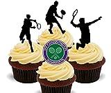 Made4You Wimbledon - Siluetas de jugador de tenis para hombre, comestibles para magdalenas, decoración para tartas (12 unidades)