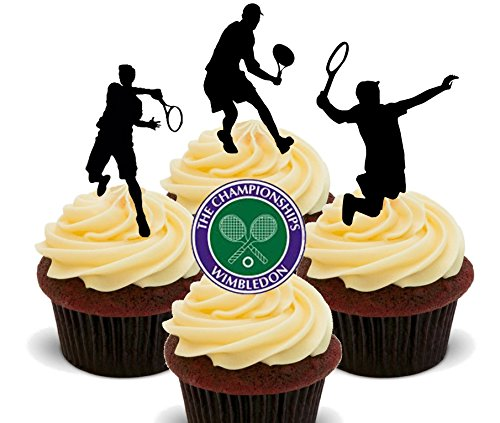 "Made4You Essbare Kuchendekoration ""Wimbledon"", Motiv: Tennisspieler, aufstellbare Kuchen-/Cupcake-Topper, Wafer-Karte, 12er-Pack"