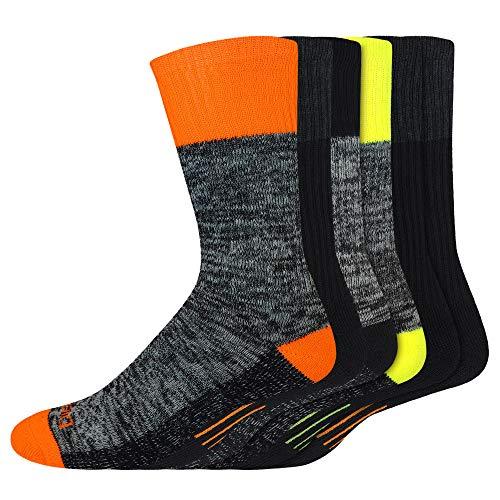 Genuine-Dickies Men's Dri-Tech Premium Performance Crew Work Sock 6-Pair-Pack (Hi-Visibility Multi-Color, Shoe Size: 6-12)