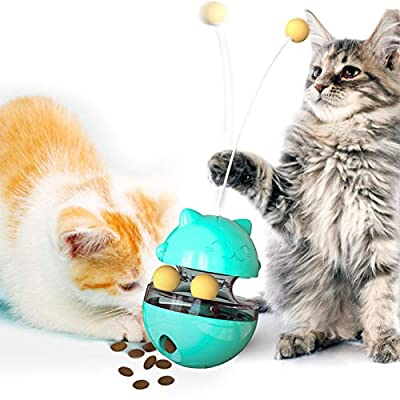 Funny Cat Toys, 4 In 1 Interactive Cat Toys for Indoor Cats, Adjustable Cat Food Dispenser Treat Tumbler Toy with Three Balls and Teasing Wand for Pet Cat Kitten, for Chasing Playing Eating (Blue)