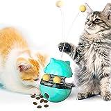 Jouet pour Chat interactifs, 4 en 1Tumbler Jouet pour Chat avec Double Boule et Bâton, Jouet Distributeur Croquette Chat Facile à Nettoyer Jouet Chat pour Chasser Jouer Manger d'intérieur (Bleu)