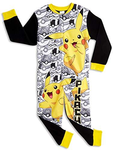 Pokemon Onesie für Kinder   Kinder Onesie mit Pokemon Charakter   All in One PJ Jumpsuit mit Pikachu und Poke Balls   Pikachu Onesie Pyjama   Geschenk für Jungen 3-12 Jahre