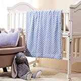 CREVENT Cozy Fuzzy Fluffy Soft Lightweight Warm Minky +Sherpa Backing Baby Throw Blanket for Infant Toddler Crib Cot Stroller Gifts for Baby Boys Winter All Season Use (30'X40' Blue dot)