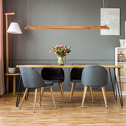 Redge | LED Designer Lampe | Hängelampe aus Eiche Massivholz | 2.400 Lumen Warmweiß | Stufenlos Dimmbar mit Wandschalter und Fernbedienung | Pendel-Leuchte Echt Holz (Wildeiche, 150cm)