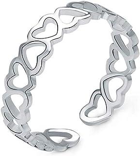 Scpink Anello in argento sterling S925 Cuore a cuore Anello d'argento di piccola ragazza fresca (Argento)