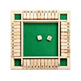 Classics 4 Sided Large Wooden Board Game, Shut The Box Dice Game (2-4 Players) for Kids + Adults [2 Dice + Shut-The-Box Rules] Smart Game for Learning Numbers, Strategy + Risk Management
