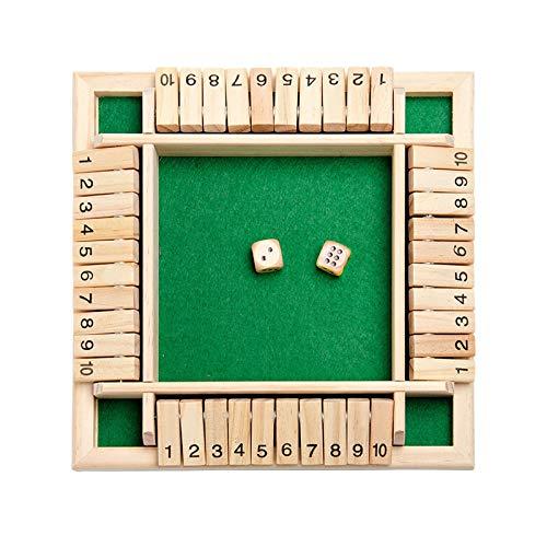 OPALLEY Holz Brettspiel, 4-Spieler Shut The Box Würfelspiel Mathematik Traditional Pub Board Würfelspiel Reisen 4 Spieler Great Family Brettspiele Urlaub unterhaltsames Spiel