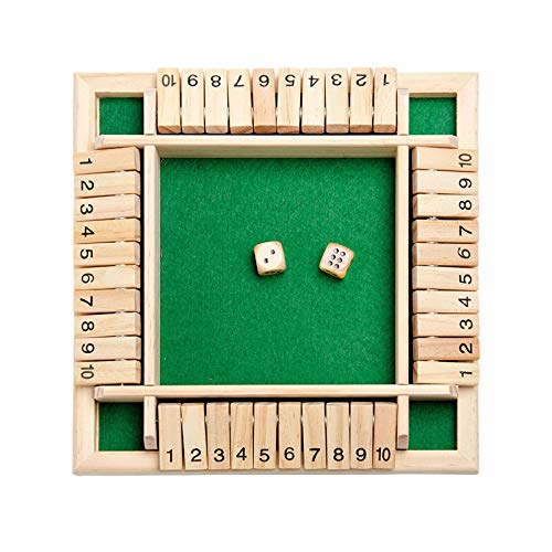 2-4 Player Shut The Box Wooden Board Game with Dice for The Classroom Home Pub Large (Green)