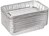 Pack of 25 Disposable Aluminum Foil Toaster Oven Pans - Mini Broiler Pans | BPA Free | Perfect for Small Cakes or Personal Quiche | Standard Size - 8 1/2' x 6'