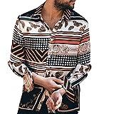 CAOQAO Camisa Hombre Hawaiana Verano Manga Larga Polka Dot Rayas Estampado Vintage Moda Casual
