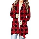 Adeliber Womens Christmas Snowman Open Front Long Sleeve Loose Flowy Hem Cardigan Coat(K-Wine,M)