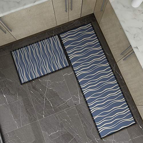 OPLJ Alfombra de Puerta con impresión de celosía a Rayas Moderna Alfombra de Cocina Antideslizante Alfombra de baño Alfombra de Piso Alfombra Lavable A9 40x60cm