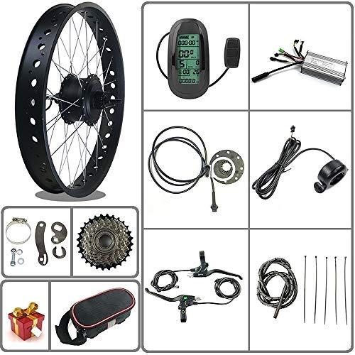 Ricetoo 36V / 48V 500W Kit de conversión de bicicleta eléctrica para bicicleta de nieve / neumático gordo Motor de cubo giratorio trasero de rueda de 20/26 pulgadas con pantalla LCD6 (rojo, 26inch)