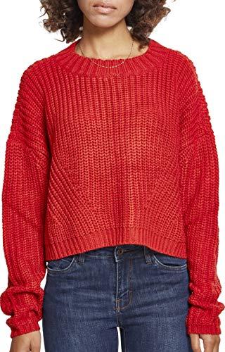 Urban Classics Damen Ladies Wide Oversize Sweater Sweatshirt, Fire Red, Medium
