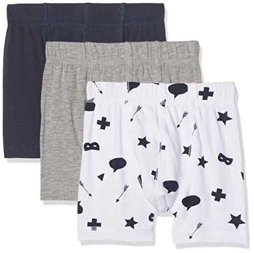 NAME IT Nmmtights 3p Grey Mel Noos, Boxer Bébé Garçon, Multicolore (Grey Melange), 98 (lot de 3)