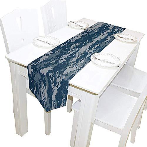 Decoración del hogar del corredor de la mesa, estera de café del corredor del mantel del camuflaje de la marina de guerra americana para la decoración del banquete del banquete de boda 13 x 90 pulgadas