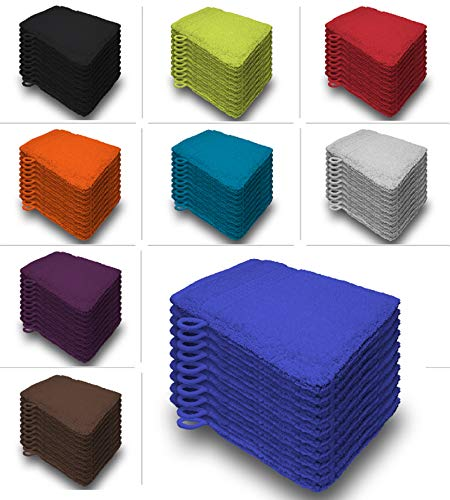 one-home 10er Set Waschhandschuhe Waschhandschuh Waschlappen 16x21 cm Frottee Baumwolle, Farbe:Royal/Blau