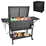 URRED 80 Quart Rolling Cooler Cart with Cutting Board, Portable Wicker Cooler with Wheels for Patio Backyard Pool Party, Outdoor Ice Chest with Bottle Opener and Protective Cover (Black)