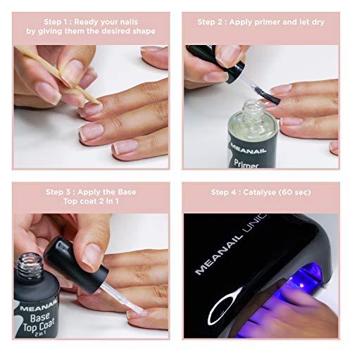 Lámpara UV y LED 48W - Set Completo Secador de Uñas Gel Manicura y Pedicura - Kit Edition Basic Unic Black con Esmaltes Semipermanentes para Uñas - Cruelty free, Meanail Paris
