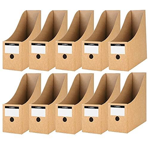 Furado 10 Pezzi Portariviste Cartone, Portariviste in carta kraft Porta Riviste Portariviste per Documenti Scatole di Archiviazione di Documenti, Portariviste Organizer per Scuola Ufficio Alloggio