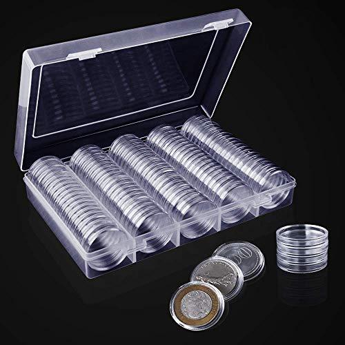 Kulannder 100 Stück Münzkapseln,30mm Münz Aufbewahrungbox Kunststoff Aufbewahrungsbehälter für Münzsammlung