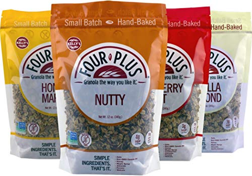 Kelly's Four Plus Granola Variety Pack, 12 oz, 4 count. Best Tasting Natural Maple Syrup Oats and Honey Granola Cereal, Healthy Crunchy Gluten-Free, Best Granola for Yogurt Topping, Breakfast Cereal