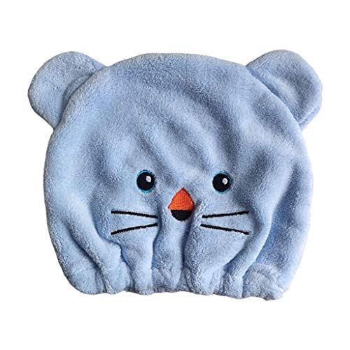 Gwxevce Coral Fleece Swim Cap Cartoon Animal Broderie Super Absorbant Hair Drying Hat Sky Blue