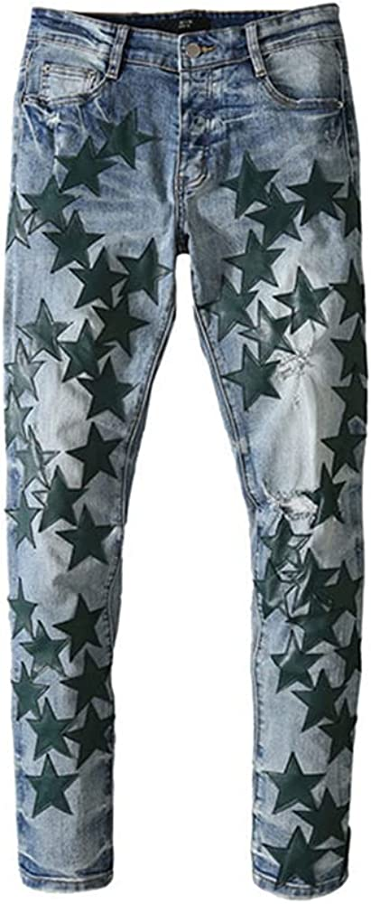 Street Star Leather Five-Pointed Stars Fight Leather Hole wash Jeans Tide Brand (Green and Blue, 34)