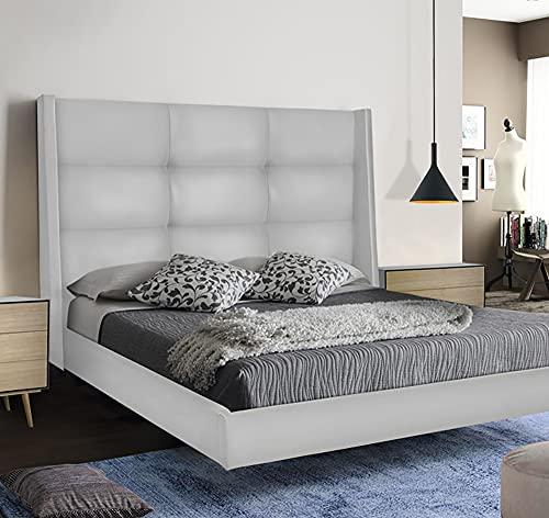 LA WEB DEL COLCHON - Cabecero Tapizado Dalice para Cama de 220 (240 x 120 cms) Blanco Polipiel
