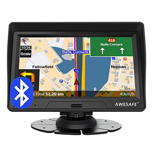 AWESAFE Navigation für Auto LKW 7 Zoll Navigationssystem mit Bluetooth 2020 Europa Karte untertützt lebenslang Kartenupdate