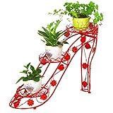 XXT Arte de Hierro Zapatos de tacón Alto Salón de balcón Multicapa con macetero Estante Interior Estante de Flores Tridimensional (Color : Red)