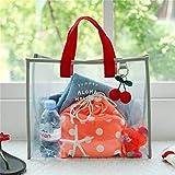 BCDZZ Borsa da viaggio da donna con ciondolo a forma di foglia di ciliegio in peluche, con ciondolo a forma di foglia, impermeabile, borsa da spiaggia, colore: rosso grigio