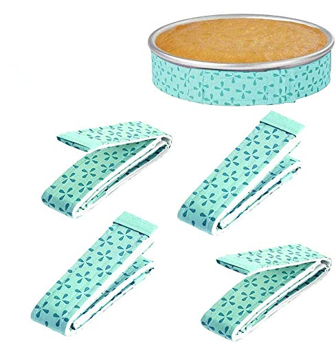 4-Piece Bake Even Strip,Cake Pan Strips,Super Absorbent Thick Cotton,Cake Strips for Baking,Cake Pan Strips (green)