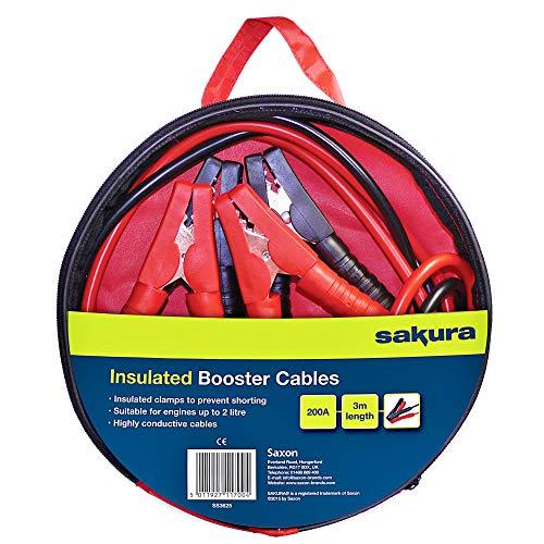 Sakura SS3625 Câbles de Démarrage de Batterie - 200 A, 3m, Pinces à Code Couleur - pour Véhicules Jusqu'à 2,0L/2000cc Lorsque la Batterie Est à Plat